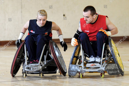 Josie Pearson, the only female player in the GB wheelchair rugby team for the Beijing Paralympics, during a training session.