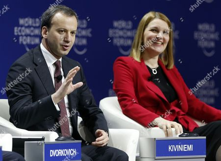 Arkady Dvorkovich (l) Deputy Prime Minister of the Russian Federation and Mari Kiviniemi (r) Deputy Secretary-general Organisation For Economic Cooperation and Development (oecd) During a Panel Session on the First Day of the World Economic Forum (wef) on East Asia in Jakarta Indonesia 20 April 2015 the World Economic Forum is Putting Indonesia Southeast Asias Biggest Economy in the Spotlight of the International Community Indonesia Jakarta