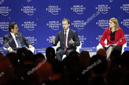 Sofyan Djalil (l) Indonesian Coordinating Minister For Economic Affairs Arkady Dvorkovich (c) Deputy Prime Minister of the Russian Federation and Deputy Secretary-general Organisation For Economic Cooperation and Development Mari Kiviniemi (r) Attend a Panel Session on the First Day of the World Economic Forum (wef) on East Asia in Jakarta Indonesia 20 April 2015 the World Economic Forum is Putting Indonesia Southeast Asias Biggest Economy in the Spotlight of the International Community Indonesia Jakarta