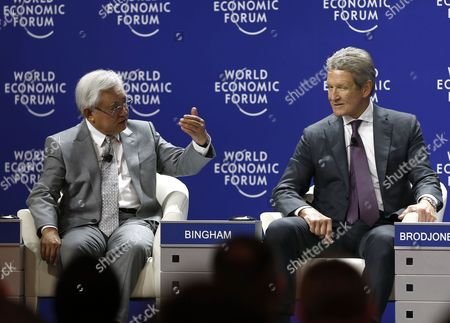 Stock Photo of Raymond Bingham (r) Chairman of the Board Flextronics International Usa and Serge Pun (l) Chairman of Serge Pun and Associates in Myanmar Speak During a Panel Session of the World Economic Forum (wef) on East Asia in Jakarta Indonesia 21 April 2015 the Wef is Putting Indonesia Southeast Asias Biggest Economy in the Spotlight of the International Community Indonesia Jakarta