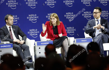 Mari Kiviniemi (c) Deputy Secretary-general of the Organisation For Economic Cooperation and Development (oecd) Arkady Dvorkovich (l) Deputy Prime Minister of the Russian Federation and John Riady (r) Executive Director of Lippo Group Indonesia and Co-chair of the World Economic Forum on East Asia Speak During a Panel Session on the First Day of the World Economic Forum (wef) on East Asia in Jakarta Indonesia 20 April 2015 the World Economic Forum is Putting Indonesia Southeast Asias Biggest Economy in the Spotlight of the International Community Indonesia Jakarta