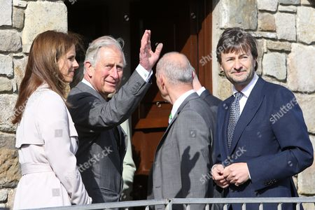 Britain's Prince Charles (2-l) Meets Lord Mountbatten's Grandson Timothy Knatchbull (r) who Survived the 1979 Bomb Blast and His Wife Isabella (l) in Mullaghmore County Sligo Ireland 20 May 2015 Prince Charlesvisited the Co Sligo Village of Mullaghmore where His Great-uncle Lord Mountbatten was Killed in an Ira Attack in 1979 Three Others Died Alongside Lord Mountbatten when a Bomb Exploded on a Boat As His Party Set out on a Fishing Trip on 27 August 1979 Ireland Mullaghmore