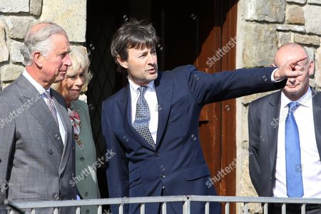 Britain's Prince Charles (l) and His Wife Camilla Duchess of Cornwall (c) Meet Lord Mountbatten's Grandson Timothy Knatchbull (r) who Survived the 1979 Bomb Blast in Mullaghmore County Sligo Ireland 20 May 2015 They Visited the Co Sligo Village of Mullaghmore where Prince Charles' Great-uncle Lord Mountbatten was Killed in an Ira Attack in 1979 Three Others Died Alongside Lord Mountbatten when a Bomb Exploded on a Boat As His Party Set out on a Fishing Trip on 27 August 1979 Ireland Mullaghmore