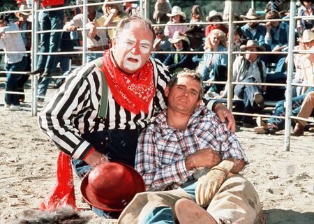 'Rodeo Girl'  TV Film - 1980 -  Rodeo clown and the Garretts' long-time friend Bingo Gibbs (Wilford Brimley) with Wil (Bo Hopkins)
