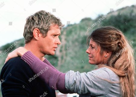 'Rodeo Girl'  TV Film - 1980 -  Side view of Wil (Bo Hopkins) and wife Sammy (Katherine Ross) in a romantic moment.