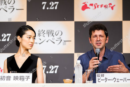 Japanese Actress/cast Member Eriko Hatsune (l) Listens to British Director Peter Webber (r) Speak During a Press Conference For the Film 'Emperor' in Tokyo Japan 18 July 2013 the Post-world War Ii Film Will Hit Japanese Movie Theaters on 27 July Japan Tokyo