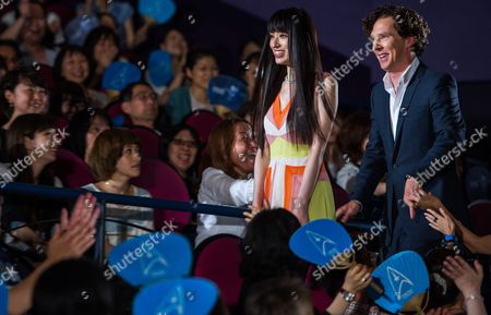Japanese Actress Chiaki Kuriyama (l) and British Actor/cast Member Benedict Cumberbatch (r) Greet Fans During a Stage Greeting For 'Star Trek Into Darkness' in Tokyo Japan 16 July 2013 the Action Adventure Sci-fi Movie Will Be Released in Japanese Theaters on 23 August Japan Tokyo