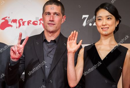 Stock Picture of Us Actor/cast Member Matthew Fox (l) and Japanese Actress/cast Member Eriko Hatsune (r) Pose For Photographers During a Press Conference For the Film 'Emperor' in Tokyo Japan 18 July 2013 the Post-world War Ii Film Will Hit Japanese Movie Theaters on 27 July Japan Tokyo