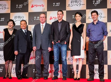 (l-r) Cast Members Kaori Momoi Toshiyuki Nishida Tommy Lee Jones Matthew Fox Eriko Hatsune and British Director Peter Webber Attend a Press Conference For the Film 'Emperor' in Tokyo Japan 18 July 2013 the Post-world War Ii Film Will Hit Japanese Movie Theaters on 27 July Japan Tokyo