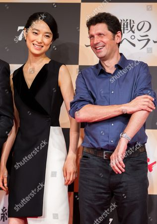 Japanese Actress/cast Member Eriko Hatsune (l) and British Director Peter Webber (r) Pose For Photographers During a Press Conference For the Film 'Emperor' in Tokyo Japan 18 July 2013 the Post-world War Ii Film Will Hit Japanese Movie Theaters on 27 July Japan Tokyo