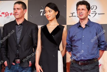 (l-r) Us Actor/cast Member Matthew Fox Japanese Actress/cast Member Eriko Hatsune and British Director Peter Webber Pose For Photographers During a Press Conference For the Film 'Emperor' in Tokyo Japan 18 July 2013 the Post-world War Ii Film Will Hit Japanese Movie Theaters on 27 July Japan Tokyo
