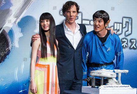 (l-r) Japanese Actress Chiaki Kuriyama British Actor/cast Member Benedict Cumberbatch and Japanese Tv Personality Naoki Tanaka Attend a Stage Greeting For 'Star Trek Into Darkness' in Tokyo Japan 16 July 2013 the Action Adventure Sci-fi Movie Will Be Released in Japanese Theaters on 23 August Japan Tokyo
