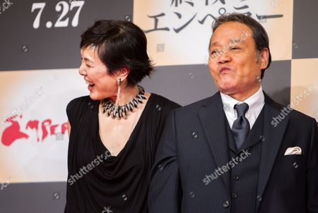 Japanese Cast Members Kaori Momoi (l) and Toshiyuki Nishida (r) Pose For Photographers During a Press Conference For the Film 'Emperor' in Tokyo Japan 18 July 2013 the Post-world War Ii Film Will Hit Japanese Movie Theaters on 27 July Japan Tokyo