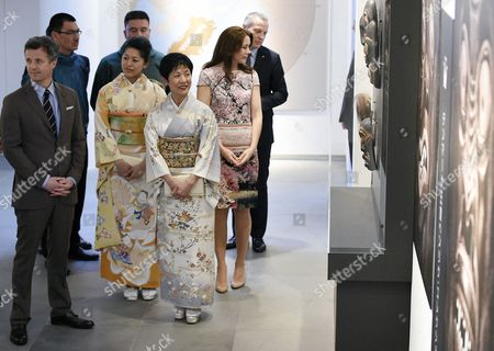 Denmark's Crown Prince Frederik (l) and His Wife Crown Princess Mary (r) Visit the Spiritual Greenland Exhibition with Princess Takamado (2-r) and Princess Tsuguko of Takamado (2nd-l) During the Exhibition's Official Opening in Tokyo Japan 27 March 2015 the Danish Royal Couple Are in Tokyo to Promote Greenlandic Culture and Greenlandic Products From 26 to 28 March Japan Tokyo