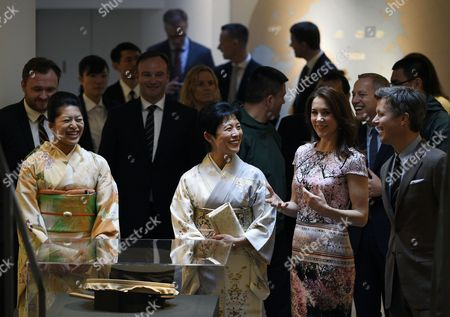 Denmark's Crown Prince Frederik (r) and His Wife Crown Princess Mary (2-r) Visit the Spiritual Greenland Exhibition with Princess Takamado (2-l) and Princess Tsuguko of Takamado (l) During the Exhibition's Official Opening in Tokyo Japan 27 March 2015 the Danish Royal Couple Are in Tokyo to Promote Greenlandic Culture and Greenlandic Products From 26 to 28 March Japan Tokyo