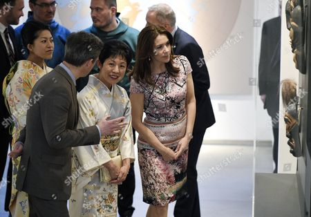 Denmark's Crown Prince Frederik (2-l) and His Wife Crown Princess Mary (r) Visit the Spiritual Greenland Exhibition with Princess Takamado (2-r) and Princess Tsuguko of Takamado (l) During the Exhibition's Official Opening in Tokyo Japan 27 March 2015 the Danish Royal Couple Are in Tokyo to Promote Greenlandic Culture and Greenlandic Products From 26 to 28 March Japan Tokyo