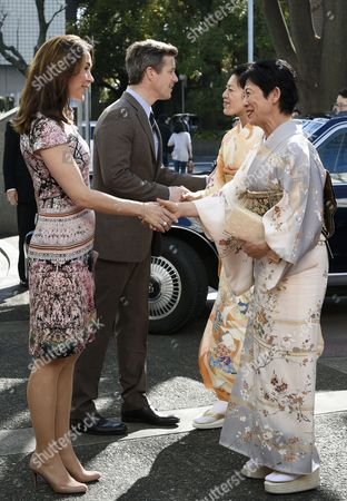 Denmark's Crown Prince Frederik (2-l) and His Wife Crown Princess Mary (l) Welcome Princess Takamado (r) and Princess Tsuguko of Takamado (2-r) Before Attending the Opening Ceremony of the Spiritual Greenland Exhibition in Tokyo Japan 27 March 2015 the Danish Royal Couple Are in Tokyo to Promote Greenlandic Culture and Greenlandic Products From 26 to 28 March Japan Tokyo