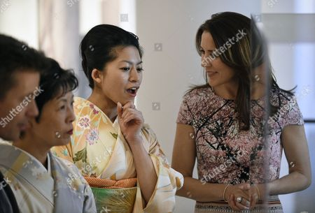 Denmark's Crown Prince Frederik (l) and His Wife Crown Princess Mary (r) Visit the Spiritual Greenland Exhibition with Princess Takamado (2-l) and Princess Tsuguko of Takamado (2-r) During the Exhibition's Official Opening in Tokyo Japan 27 March 2015 the Danish Royal Couple Are in Tokyo to Promote Greenlandic Culture and Greenlandic Products From 26 to 28 March Japan Tokyo