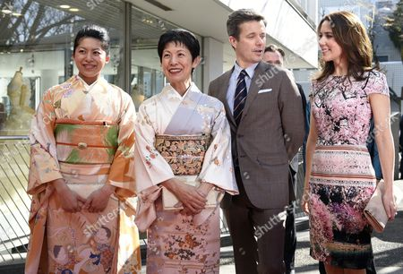 Denmark's Crown Prince Frederik (2-r) and His Wife Crown Princess Mary (r) Pose with Princess Takamado (2-l) and Princess Tsuguko of Takamado Before Attending the Opening Ceremony of the Spiritual Greenland Exhibition in Tokyo Japan 27 March 2015 the Danish Royal Couple Are in Tokyo to Promote Greenlandic Culture and Greenlandic Products From 26 to 28 March Japan Tokyo