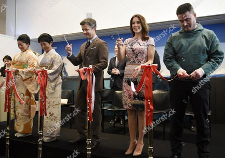 Denmark's Crown Prince Frederik (c) and His Wife Crown Princess Mary (2-r) Cut a Ribbon with Princess Takamado (2-l) Her Daughter Princess Tsuguko of Takamado (l) and Greenland Prime Minister Kim Kielsen (r) During the Opening Ceremony of the Spiritual Greenland Exhibition in Tokyo Japan 27 March 2015 the Danish Royal Couple Are in Tokyo to Promote Greenlandic Culture and Greenlandic Products From 26 to 28 March Japan Tokyo