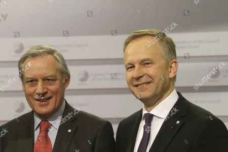 Governor of the Bank of France Christian Noyer (l) and Governor of Central Bank of Latvia Ilmars Rimsevics During Hand Shakes at Informal Meeting of Ministers For Economic and Financial Affairs (ecofin) in Riga Latvia 25 April 2015 Latvia Riga
