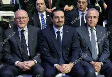 Stock Picture of Former Lebanese Prime Minister and Opposition Leader Mp Saad Hariri (c) the Lebanese Prime Minister Tammam Salam (l) and and Former Lebanese President Michel Sleiman (r) Attend a Ceremony Commemorating the Tenth Anniversary of the Assassination of His Father Former Prime Minister Rafik Hariri in Beirut Lebanon 14 February 2015 Hariri was Assassinated 14 February 2005 in a Massive Explosion Which Targeted the Vehicle He was in in Beirut Killing Tens of Civilians at the Same Time Lebanon Beirut