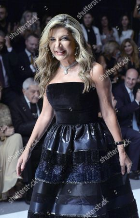 Lebanese Designer Ingie Chalhoub Greets the Audience After Presenting Her Spring/summer 2017 Haute Couture During Opening of the 'La Mode a Beyrouth' Fashion Week in Beirut Lebanon 17 October 2016 the Event Runs From 17 to 22 October Lebanon Beirut