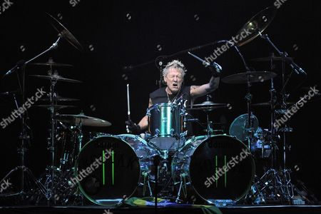 Us Drummer of Heavy Metal Band Scorpions James Kottak Performs on Stage During a Concert at Byblos International Festival in Byblos Northern Beirut Lebanon 26 July 2013 Lebanon Byblos