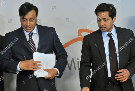 Lakshmi Mittal (l) Chairman of the Board of Directors and Ceo of the Steel Making Company Arcelormittal and Aditya Mittal (r) the Company's Chief Financial Officer Arrives For the Arcelormittal Shareholders Meeting in Luxembourg 08 May 2013 Luxembourg Luxembourg