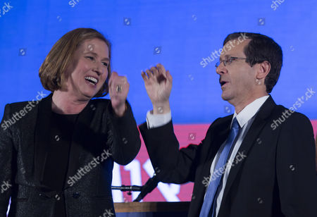 Isaac Herzog (r) Leader of the Zionist Union Party with Tzipi Livni the Number Two the Party's Ticket As They Speak From Their Election Results Headquarters in Tel Aviv Israel Late 17 March 2015 After the Television Predictions Giving the First Results of the Israeli General Election Israel Tel Aviv