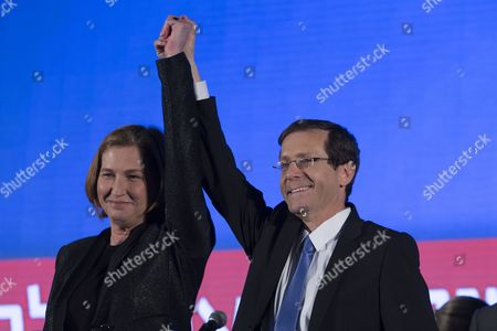 Isaac Herzog (r) Leader of the Zionist Union Party Holds Up Hands with Tzipi Livni the Number Two the Party's Ticket As They Speak From Their Election Results Headquarters in Tel Aviv Israel Late 17 March 2015 After the Television Predictions Giving the First Results of the Israeli General Election Israel Tel Aviv