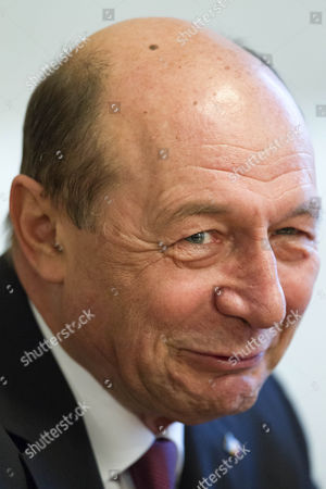 The Former President of Romania Traian Basescu Gestures at a Press Conference During the Second Day of His Visit in Chisinau Moldova on 3 April 2015 Basescu Talked About the European Perspectives of Moldova Politics and Corruption Moldova, Republic of Chisinau