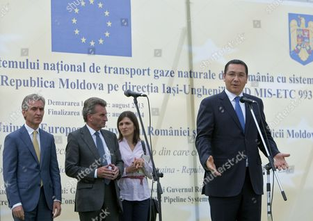 Prime Minister of Romania Victor Ponta (r) Gives a Speech During the Inauguration of the Iashi-ungheni Moldovan-romanian Gas Pipeline with His Moldovan Counterpart Iurie Leanca (l) and Guenther Oettinger (2-l) European Commissioner For Energy in Zagarancea Village Ungheni District 124 Kms North-west of Chisinau Moldova 27 August 2014 Moldova, Republic of Ungheni