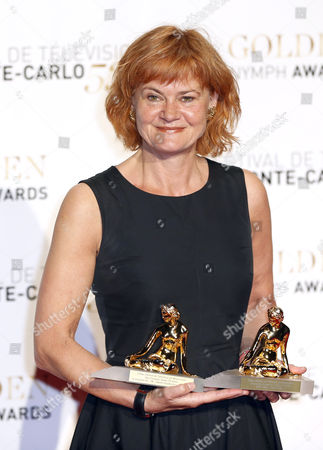 Stock Photo of Danish Producer Piv Bernth Poses with Her Best Actress Golden Nymph Award During the Closing Award Ceremony of the Monte Carlo Television Festival in Monaco 13 June 2013 the Festival Runs From 09 to 13 June Monaco Monte Carlo