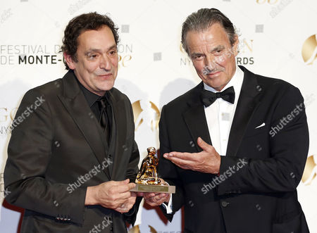 Spanish Director Agusti Villaronga Receives the Golden Nymph Award From Us Actor Eric Braeden (r) During the Closing Award Ceremony of the Monte Carlo Television Festival in Monaco 13 June 2013 the Festival Runs From 09 to 13 June Monaco Monte Carlo