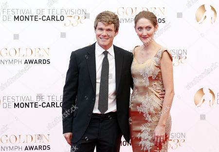 Us Actor Michael Nardelli (l) and British Actress Charlotte Milchard (r) Pose During the Closing Ceremony of the Monte Carlo Television Festival in Monaco 13 June 2013 the Festival Runs From 09 to 13 June Monaco Monte Carlo