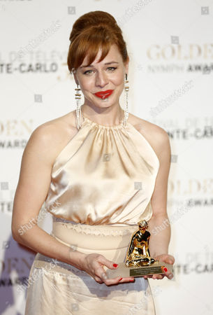 Hungarian Actress Eszter Onodi Poses with Her the Best Actress Golden Nymph Award For Her Performance in 'Aglaja' During the Closing Award Ceremony of the Monte Carlo Television Festival in Monaco 13 June 2013 the Festival Runs From 09 to 13 June Monaco Monte Carlo
