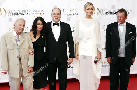 (l-r) Us Actors Robert Conrad Robin Tunney Prince Albert Ii of Monaco Slovak Model Adriana Karembeu and Us Actor Tom Berenger During the Closing Ceremony of the Monte Carlo Television Festival in Monaco 13 June 2013 the Festival Runs From 09 to 13 June Monaco Monte Carlo