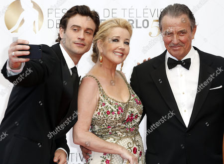 Australian Actor Daniel Goddard (l) and Us Actors Eric Braeden (r) and Melody Scott Thomas (c) Pose During the Closing Ceremony of the Monte Carlo Television Festival in Monaco 13 June 2013 the Festival Runs From 09 to 13 June Monaco Monte Carlo
