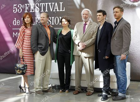 (l-r) Italian Actress Gabriela Pession Us Producers Edward Allen Bernero and Rola Bauer Us Actor Donald Sutherland French Actor and Singer Marc Lavoine and German Actor Tom Wlaschiha of the Tv Series 'Crossing Lines' Pose During a Photocall at the Monte Carlo Television Festival in Monaco 10 June 2013 the Festival Runs From 09 to 13 June Monaco Monte Carlo