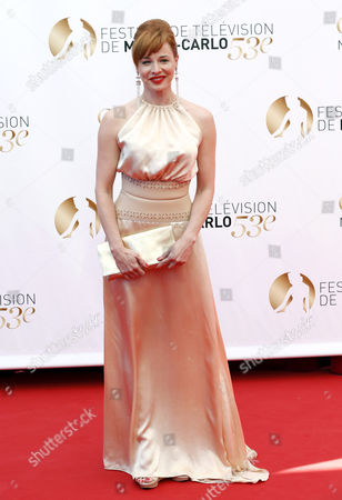 Stock Picture of Hungarian Actress Eszter Onodi Poses During the Closing Ceremony of the Monte Carlo Television Festival in Monaco 13 June 2013 the Festival Runs From 09 to 13 June Monaco Monte Carlo