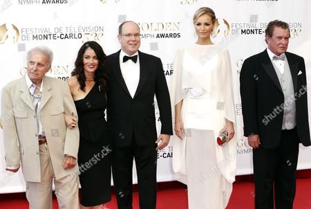 Stock Photo of (l-r) Us Actors Robert Conrad Robin Tunney Prince Albert Ii of Monaco Slovak Model Adriana Karembeu and Us Actor Tom Berenger During the Closing Ceremony of the Monte Carlo Television Festival in Monaco 13 June 2013 the Festival Runs From 09 to 13 June Monaco Monte Carlo