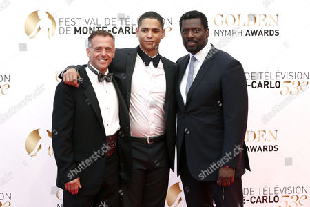 (l-r) Us Actors David Eigenberg and Charlie Barnett and British Actor Eamonn Walker Pose During the Closing Ceremony of the Monte Carlo Television Festival in Monaco 13 June 2013 the Festival Runs From 09 to 13 June Monaco Monte Carlo