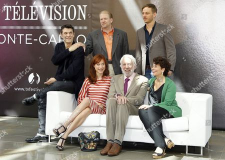 (l-r) French Actor and Singer Marc Lavoine Us Producer Edward Allen Bernero German Actor Tom Wlaschiha Italian Actress Gabriela Pession Us Actor Donald Sutherland and Us Producer Rola Bauer of the Tv Series 'Crossing Lines' Pose During a Photocall at the Monte Carlo Television Festival in Monaco 10 June 2013 the Festival Runs From 09 to 13 June Monaco Monte Carlo