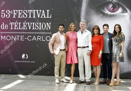 Us Actors Jess Metcalfe Brenda Strong Patrick Duffy Linda Gray Josh Henderson and Julie Gonzalo Pose During a Photocall For the Tv Series 'Dallas' at the 53rd Monte Carlo Television Festival in Monaco 12 June 2013 the Festival Runs From 09 to 13 June Monaco Monte Carlo