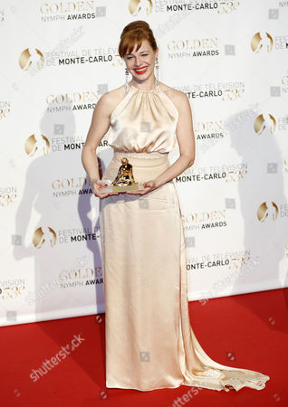 Hungarian Actress Eszter Onodi Poses with Her Best Actress Golden Nymph Award During the Closing Award Ceremony of the Monte Carlo Television Festival in Monaco 13 June 2013 the Festival Runs From 09 to 13 June Monaco Monte Carlo