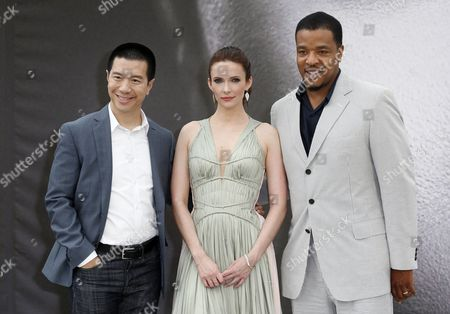 Us Actors Reggie Lee (l) Bitsie Tulloch (c) and Russell Hornsby (r) Pose During a Photocall For the Tv Series 'Grimm' at the 53rd Monte Carlo Television Festival in Monaco 11 June 2013 the Festival Runs From 09 to 13 June Monaco Monte Carlo