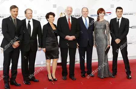 (l-r) German Actor Tom Wlaschiha American Actor Ed Bernero German Producer Rola Bauer Canadian Actor Donald Sutherland Princer Albert Ii of Monaco Italian Actress Gabriella Pession and French Actor Marc Lavoine Pose During the Opening Ceremony of the Monte Carlo Television Festival in Monte Carlo Monaco 09 June 2013 the Festival Runs From 09 to 13 June Monaco Monte Carlo