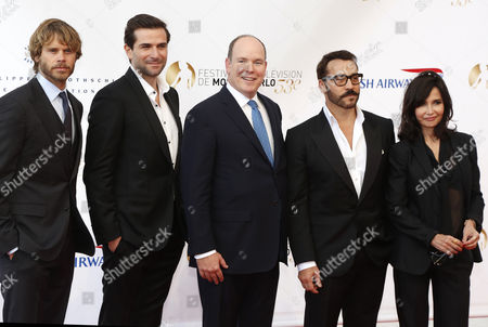 (l-r) American Actor Eric Christian Olsen French Actor Gregory Fitoussi Prince Albert Ii of Monaco American Actor Jeremy Piven and French Actress Evelyne Bouix Pose During the Opening Ceremony of the Monte Carlo Television Festival in Monte Carlo Monaco 09 June 2013 the Festival Runs From 09 to 13 June Monaco Monte Carlo
