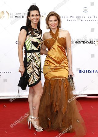 French Actresses Adeline Blondieau (l) and Christine Lemler Pose For the Media As They Arrive on the Red Carpet For the Opening Ceremony of the Monte Carlo Television Festival in Monte Carlo Monaco 09 June 2013 the Festival Runs From 09 to 13 June Monaco Monte Carlo